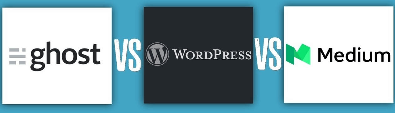 Wordpress, Medium, Ghost logos